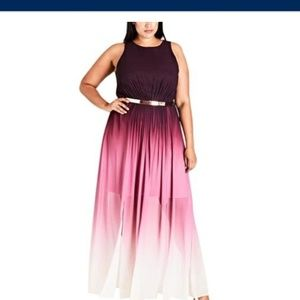 City Chic Ombre pleated Maxi dress in Berry